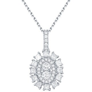 Prism Jewel 0.65Ct G-H/SI1 & I1 Round & Princess Natural Diamond Oval Cluster Pendant