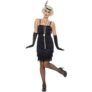 Smiffy Short Flapper Dress Adult Costume (Black) - Black