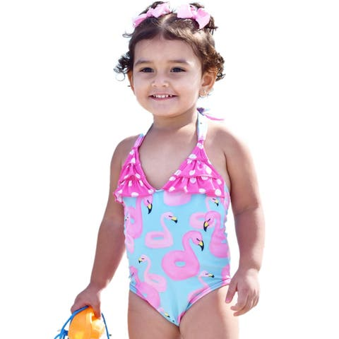Jaea Kids Little Girls Pink Neck Tie Fern & Flamingo One Pc Swimsuit