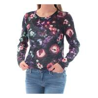 Womens Black Floral Long Sleeve Jewel Neck Casual Top  Size  XS