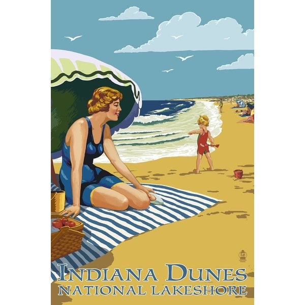 IN Dunes Seashore IN - Woman on Beach - LP Artwork (100% Cotton Towel Absorbent)
