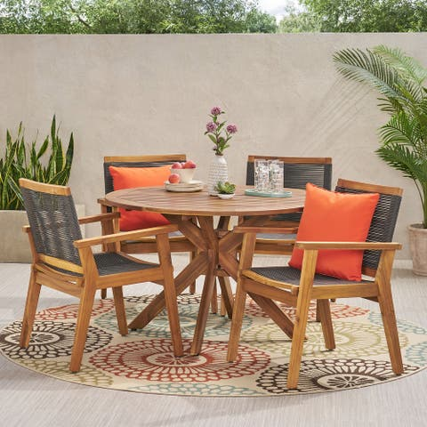 Mcgill Outdoor 5 Piece Acacia Wood Dining Set by Christopher Knight Home