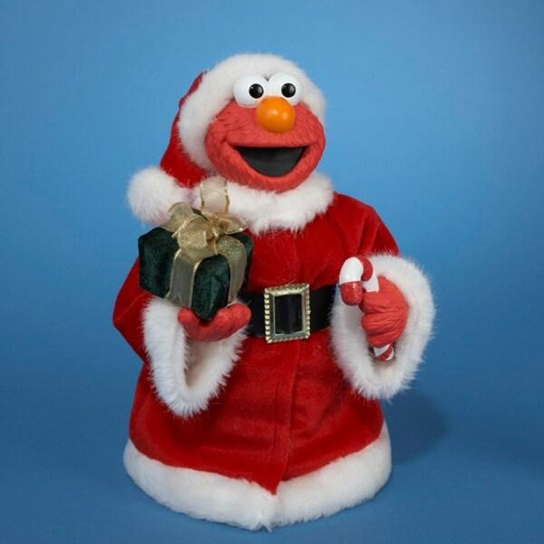 "10.5"" Sesame Street Elmo Wearing Plush Santa Suit Christmas Figure - RED"