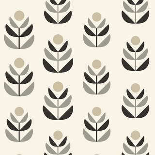 Brewster 2535-20616 Oslo Black Geometric Tulip Wallpaper