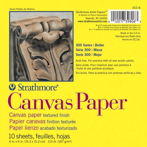Strathmore 300 Series White Canvas Paper Pad, 6 x 6 Inches