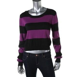 Aqua Womens Knit Striped Crop Sweater - S