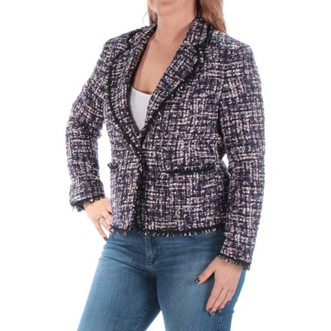 ANNE KLEIN Womens Purple Blazer Wear To Work Jacket Size: 12
