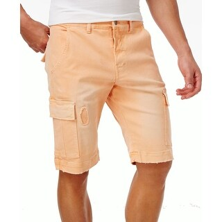 LRG NEW Orange Mens Size 38 Solid Ripped True Straight Cargo Shorts