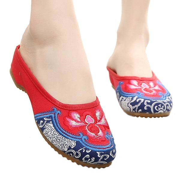 Women fashion Casual Shoes BalletCloth Embroidered Shoes Slipsole red 35