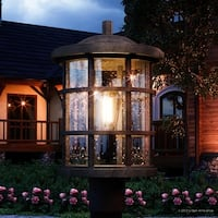 """Luxury Craftsman Outdoor Post Light, 17.25""""H x 10""""W, with Tudor Style, Wrought Iron Design, Natural Black Finish"""