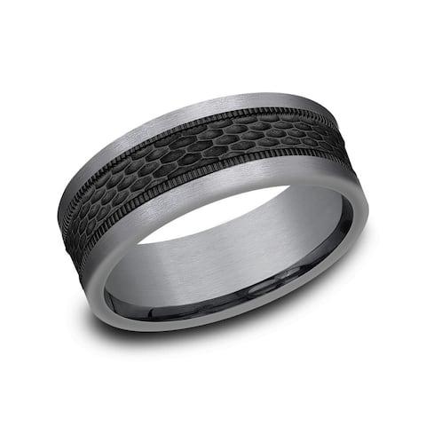Tantalum and Black Titanium Mesh Patterned Band, 8mm