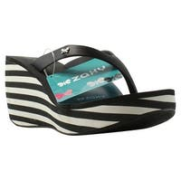 Zaxy Womens 81975 Black/White Sandals Size 8