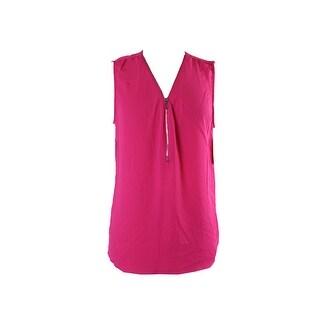 Inc International Concepts Intense Pink Sleeveless Zippered Blouse S