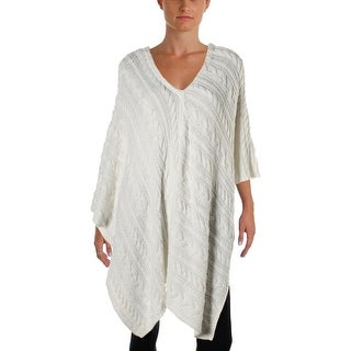 Two by Vince Camuto Womens Cable Knit V-Neck Poncho Sweater