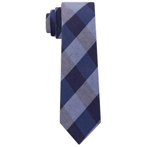 Tommy Hilfiger Men's Slim Textured Check Tie Navy Size Regular