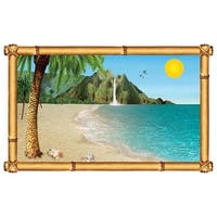 """Pack of 6 Tropical Beach Insta-View Island Theme Wall Decoration 62"""" - Blue"""