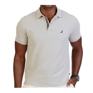 Nautica NEW Sand Beige Mens Size Large L Polo Rugby Slim Fit Shirt