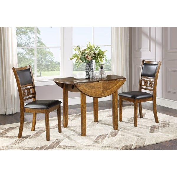 """Gia 42"""" Dining Drop Leaf Table W/2 Chairs-brown"""