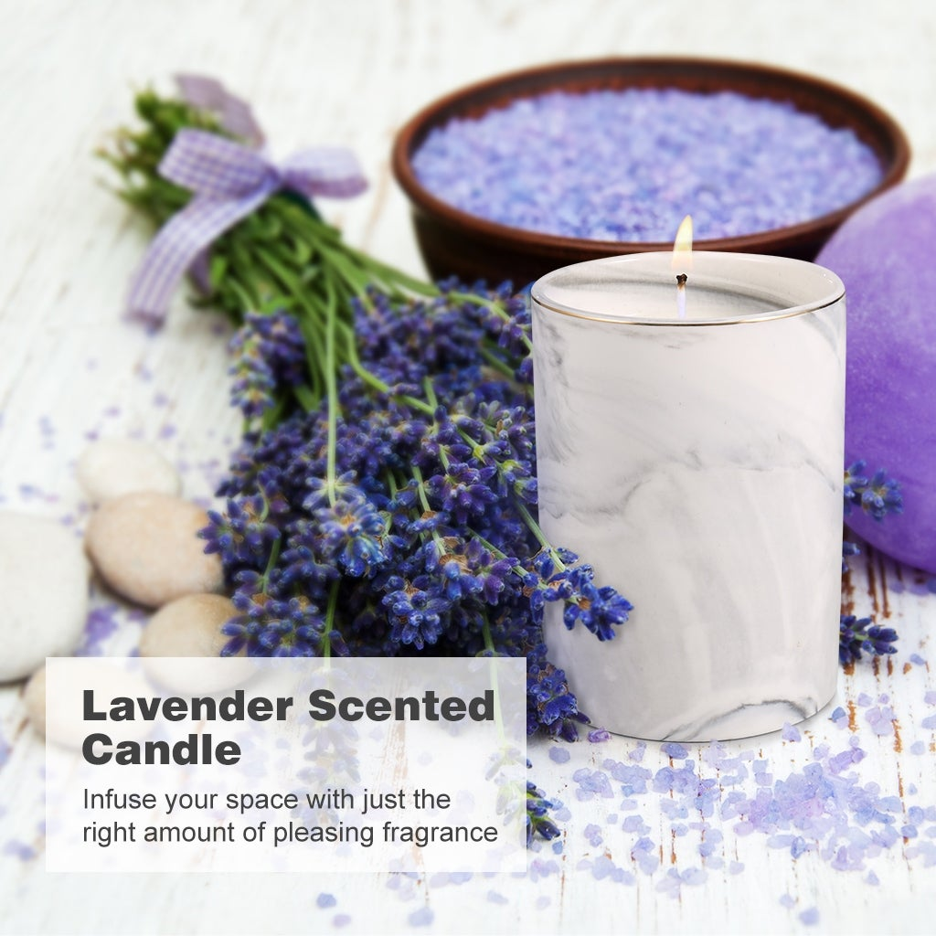Langria 3 In 1 Scented Candle Kit Includes Candle Snuffer Wick Trimmer Marbled Ceramic Cup 100 Soy Wax Overstock 30403658