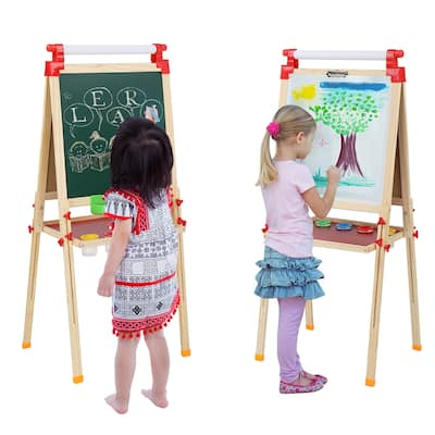 Adjustable Kids Easel Stand, Double Sided Whiteboard & Chalkboard - 21.85 x 21.85 inch