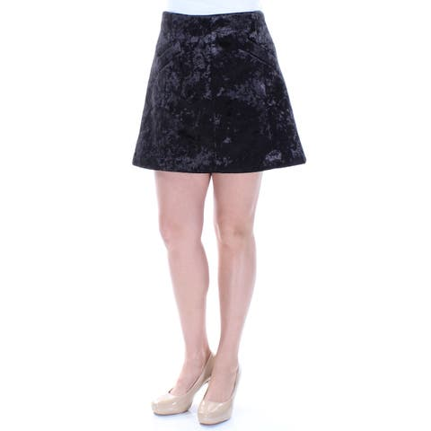 RACHEL ROY Womens Black Pocketed Velvet Mini A-Line Skirt Size: 10