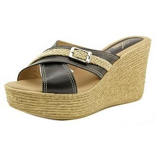 Azura Paula Open Toe Leather Wedge Sandal