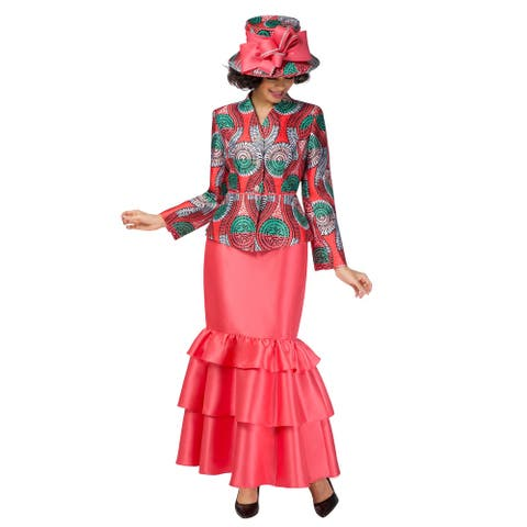 Giovanna Collection Women's 2-piece Virtual Silk V-neck Skirt Suit w/ Tierred Hem