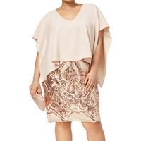 Betsy & Adam Women's Plus Popover Sequin Gown Dress