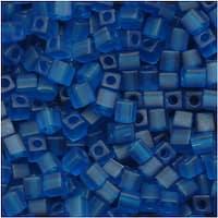 Miyuki 4mm Glass Cube Beads Transparent Matte Capri Blue 149F 10 Grams