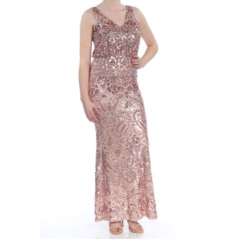 BETSY & ADAM Womens Pink Sleeveless Full Length Formal Dress Size 8