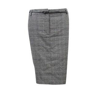 Calvin Klein Women's Petite Houndstooth Plaid Pocket Skirt