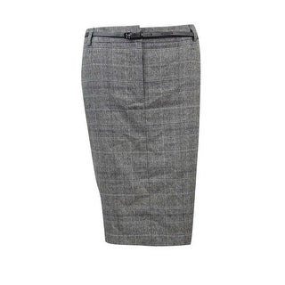 Calvin Klein Women's Petite Houndstooth Plaid Pocket Skirt - Black