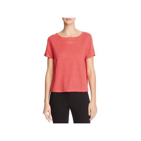 Eileen Fisher Womens T-Shirt Linen Striped