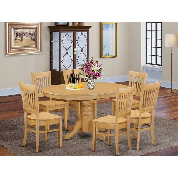 7 Piece Dining Table With Leaf And 6 Dinette Chairs Overstock 10296414