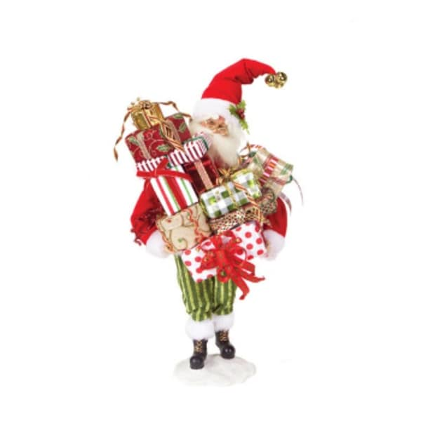 """19.5"""" Mod Holiday Santa Claus Carrying Presents Standing Christmas Figure - multi"""
