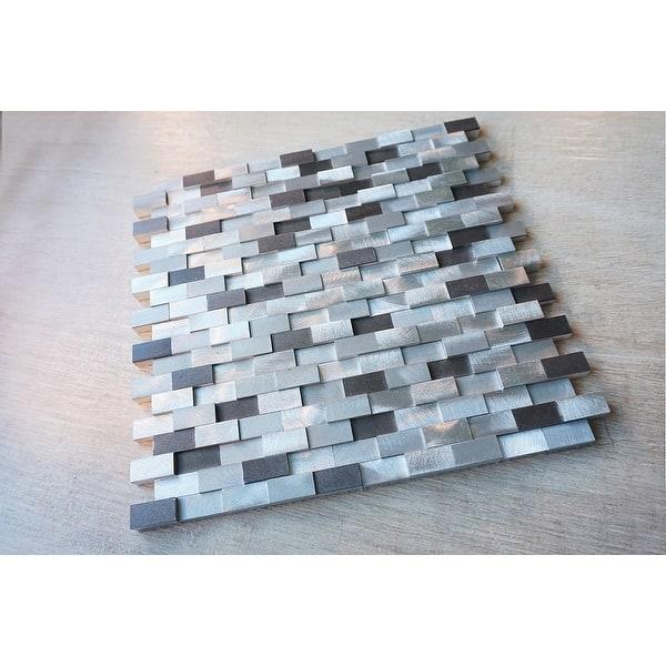 Tilegen Brick Random Sized Metal Mosaic Tile In Silver Grey Wall Tile 10 Sheets 9 6sqft Overstock 27973323