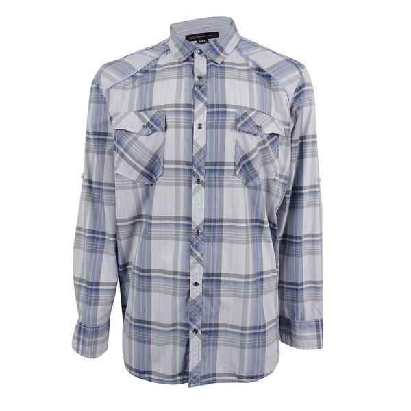 I-N-C Mens Dual Plaid Button Up Shirt