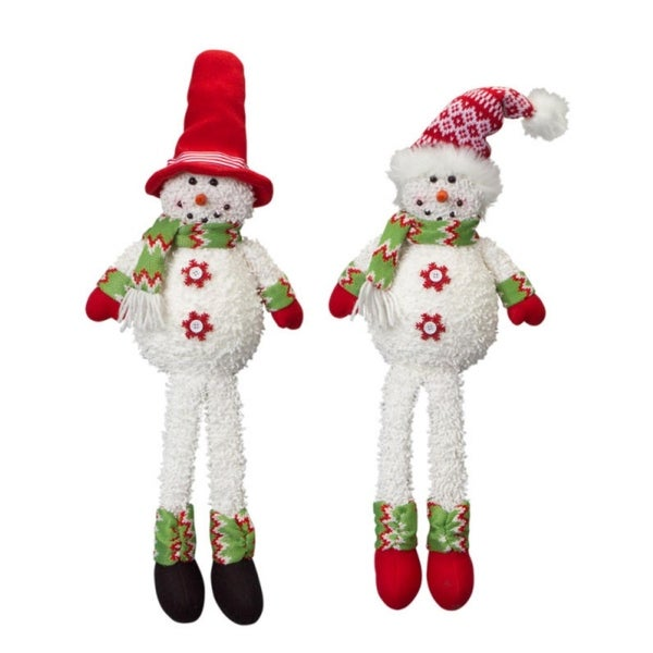 """Set of 4 Chenille Sitting Snowmen with a Red and White Designed Hat 20"""""""