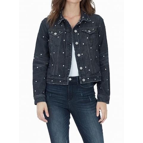 William Rast Women's Jacket Gray Size XS Denim Jean Studded Distressed