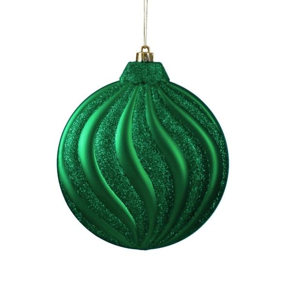 "6ct Matte Xmas Green Glitter Swirl Shatterproof Christmas Disc Ornaments 6.25"""
