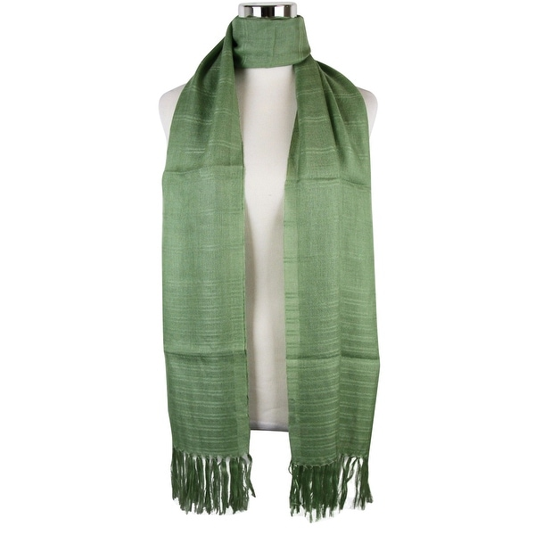 "Bottega Veneta Women's Green Cashmere Silk Long Scarf 308378 3400 - 78"" L x 30"" W"