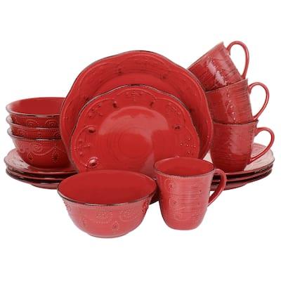 Elama Rustic Birch 16 Piece Stoneware Dinnerware Set in Red