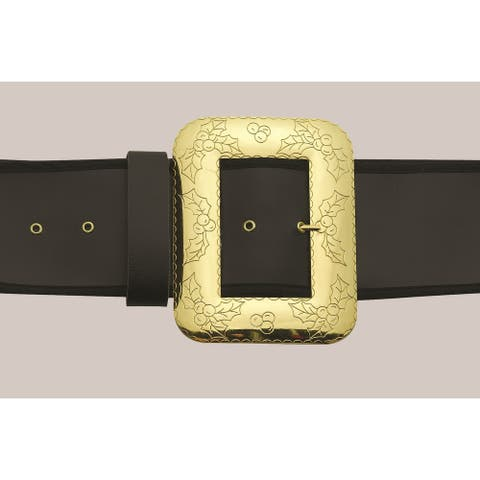 Gold Cast Belt Buckle with Holly Embossing  One Size