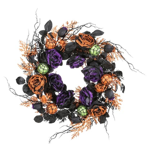 "24"" Halloween Rose Wreath"