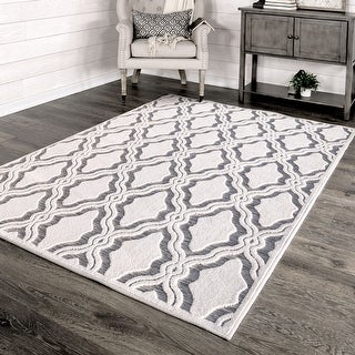 "My Texas House by Orian Indoor/Outdoor Cotton Blossom Natural Gray Area Rug - 3'11"" x 5'5"""