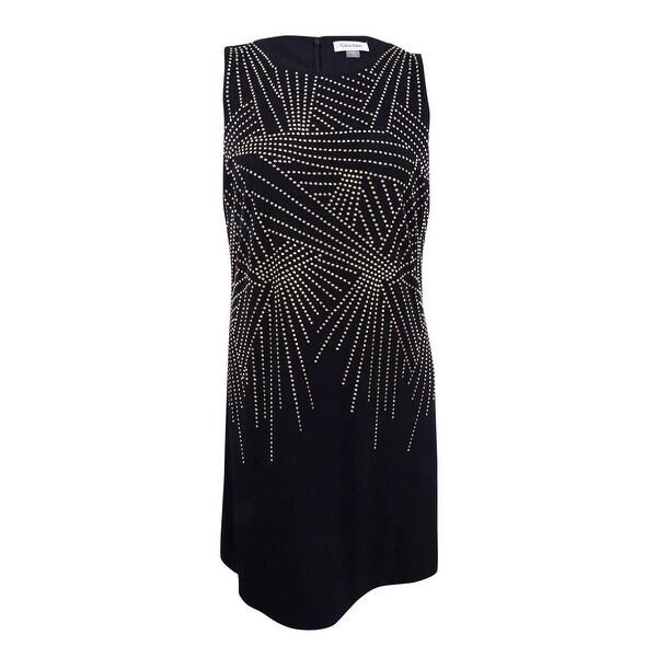 Shop Calvin Klein Womens Plus Size Studded Sheath Dress 20w Black