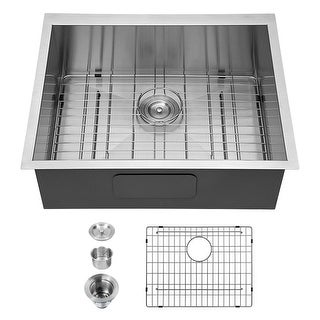 25 in. 18-Gauge Single Bowl Undermount Kitchen Sink with Strainer