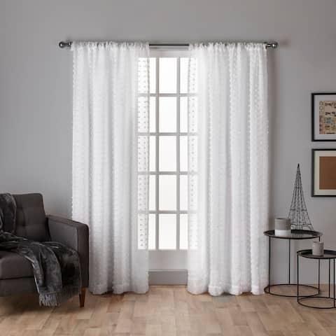 ATI Home Spirit Applique Sheer Rod Pocket Top Curtain Panel Pair