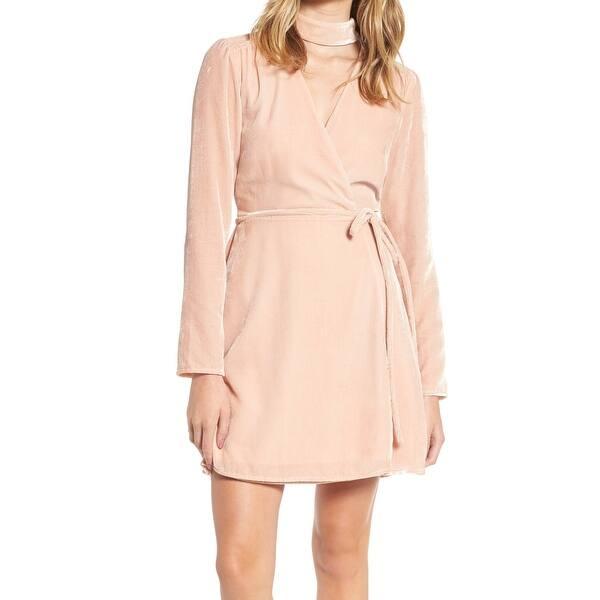 cba05e6350a9 WAYF Blush Pink Womens Size XS Velvet Choker Solid Wrap Dress. Image Gallery