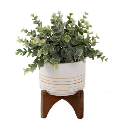 """Artificial Plant Eucalyptus in 4.75"""" Ceramic Pot on Wood Stand - ONE-SIZE"""